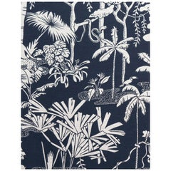 Jungle Dream Woven Commercial Grade Fabric in Oxford, White and Navy