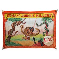 """Jungle Killers"" Circus Banner, circa 1940s"