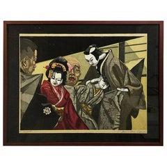 Junichiro Sekino Japanese Woodblock Print Monjuro and Jihei of Bunraku Puppets