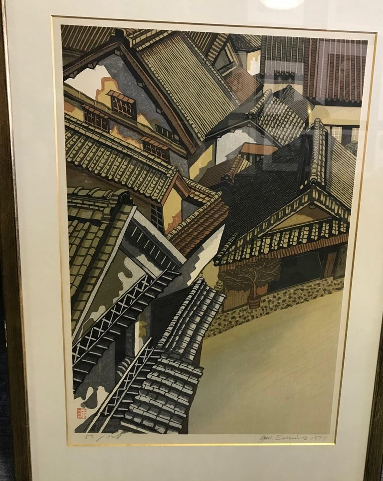 A very rare and extremely scarce, limited edition woodblock print by Japanese master printer Junichiro Sekino. This from a series of rooftops he did throughout the world. It's hard to find large, double Oban size and unique image (we could not find