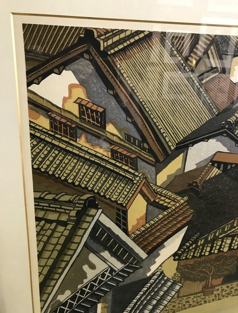 Junichiro Sekino Limited Edition Double Oban Rare Japanese Woodblock Print, 1978 In Good Condition For Sale In Studio City, CA