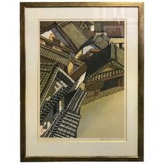 Junichiro Sekino Limited Edition Double Oban Rare Japanese Woodblock Print, 1978