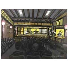 Junichiro Sekino Limited Edition Japanese Woodblock Print Bunjuro Puppet Theater