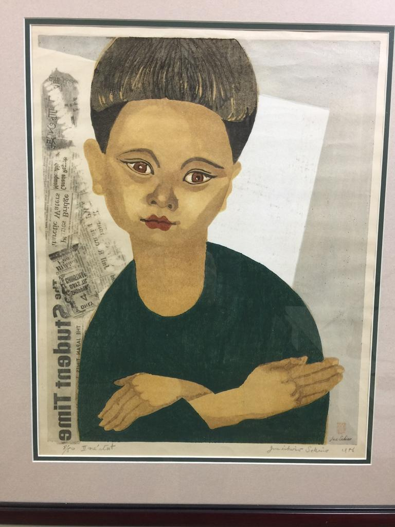 A wonderful portrait of the artist's young son by master Japanese artist or printer Junichiro Sekino.  The print is stamped with artist's seal, signed in pencil, titled (