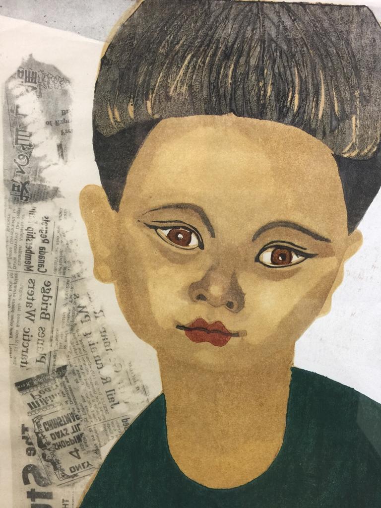 Mid-20th Century Junichiro Sekino Limited Edition Japanese Woodblock Print My Son 'II me' ctat' For Sale