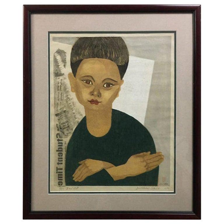 Junichiro Sekino Limited Edition Japanese Woodblock Print My Son 'II me' ctat' For Sale