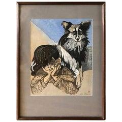 Junichiro Sekino Signed Japanese Woodblock Print Boy and His Dog