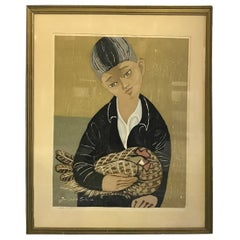 Junichiro Sekino Signed Limited Edition Japanese Woodblock Print Boy and Rooster