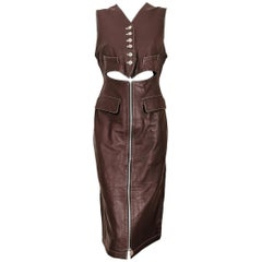 Junior Gaultier Vintage Leather Fitted Dress by Jean Paul Gaultier
