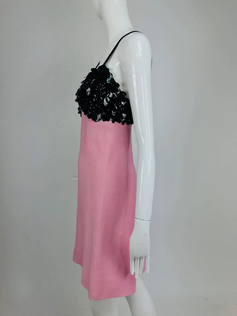 Junior Sophisticates black paillette and pink linen dress and coat, 1960s For Sale 5