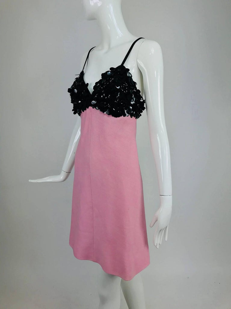 Junior Sophisticates black paillette and pink linen dress and coat, 1960s For Sale 6
