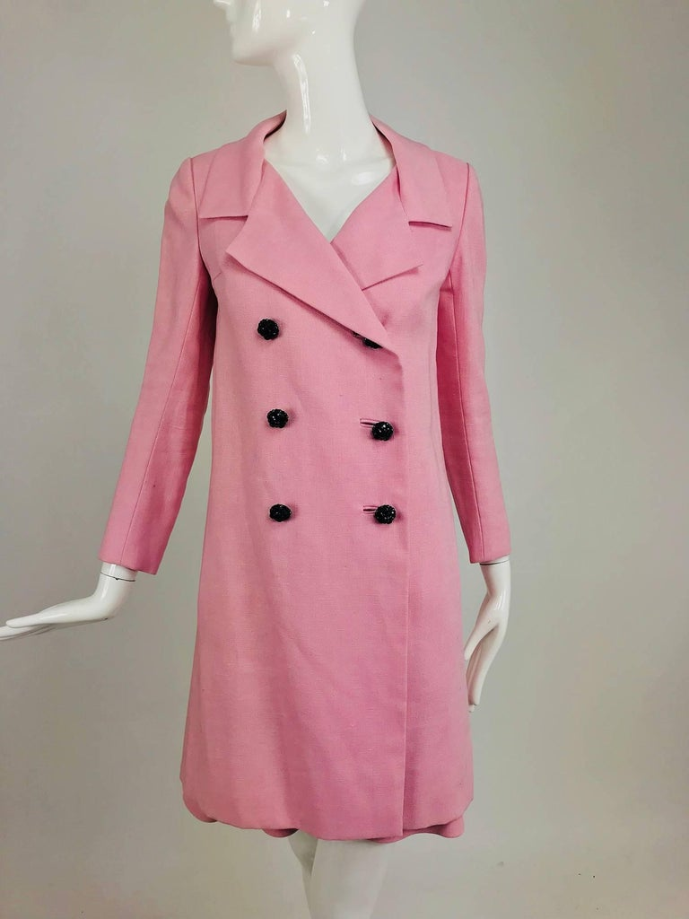 Junior Sophisticates black paillette and pink linen dress and coat, 1960s For Sale 7