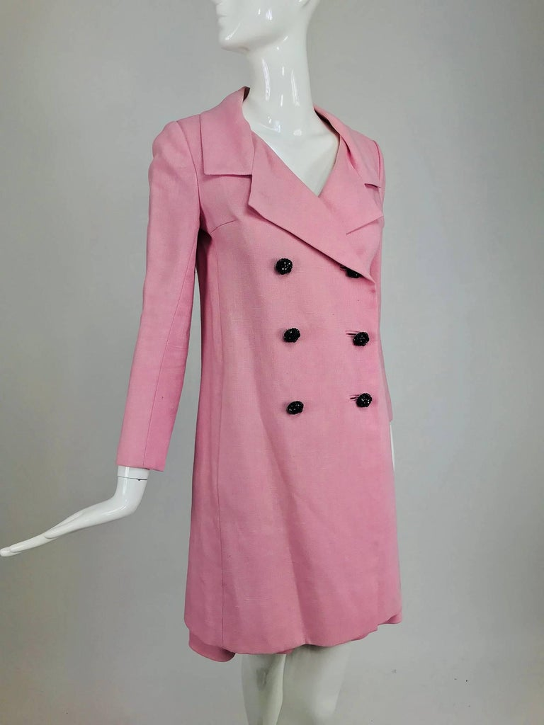 Junior Sophisticates black paillette and pink linen dress and coat, 1960s For Sale 8