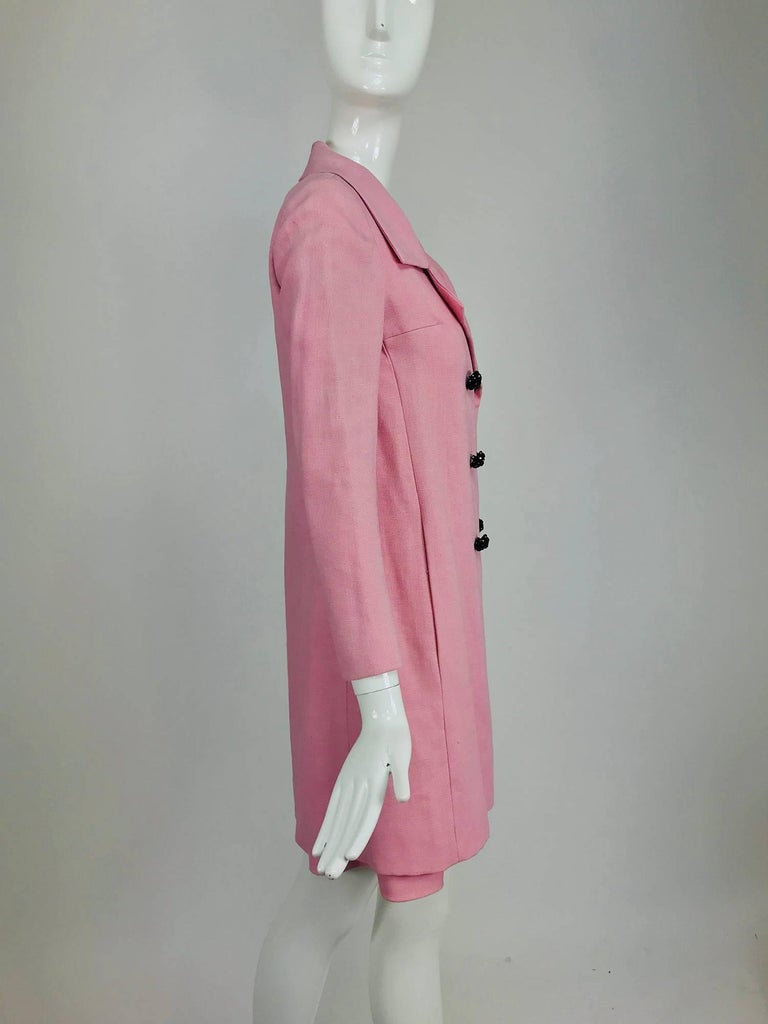 Junior Sophisticates black paillette and pink linen dress and coat, 1960s For Sale 9
