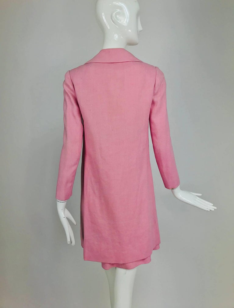 Junior Sophisticates black paillette and pink linen dress and coat, 1960s For Sale 10