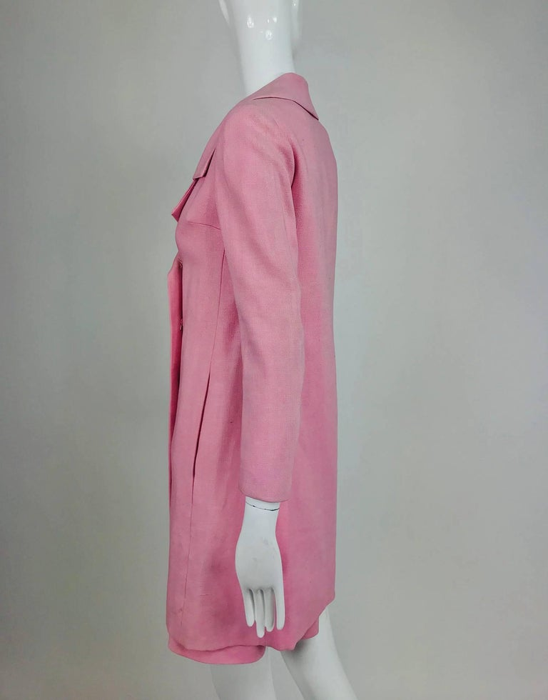 Junior Sophisticates black paillette and pink linen dress and coat, 1960s For Sale 11