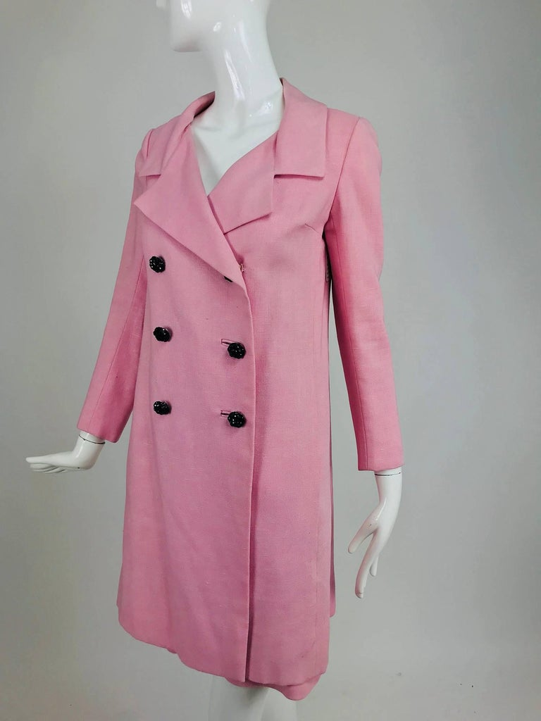 Junior Sophisticates black paillette and pink linen dress and coat, 1960s For Sale 12