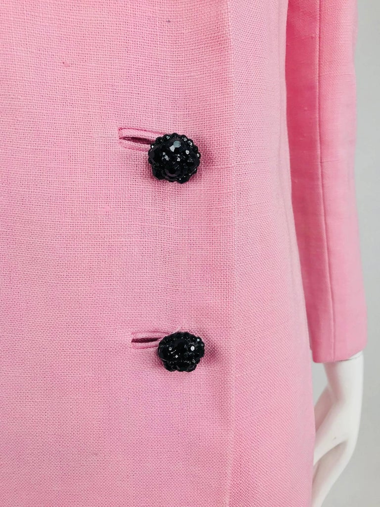 Junior Sophisticates black paillette and pink linen dress and coat, 1960s For Sale 14