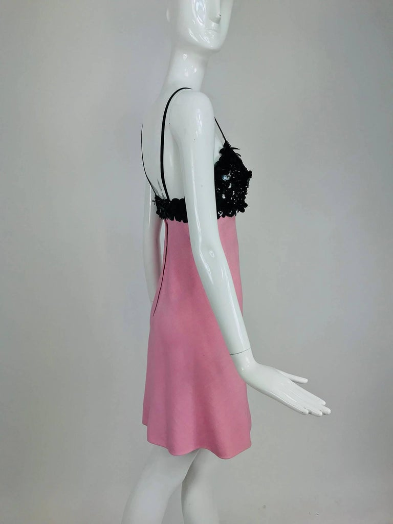 Women's Junior Sophisticates black paillette and pink linen dress and coat, 1960s For Sale