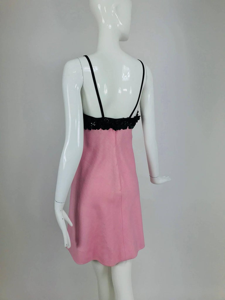 Junior Sophisticates black paillette and pink linen dress and coat, 1960s For Sale 3