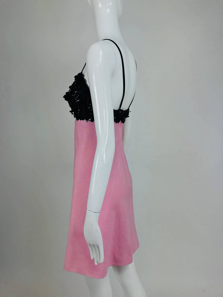 Junior Sophisticates black paillette and pink linen dress and coat, 1960s For Sale 4