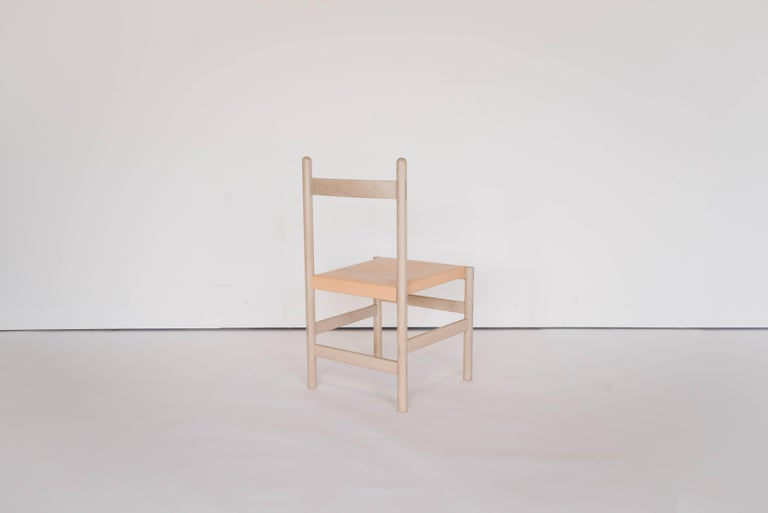 Asian Juniper Chair by Sun at Six, Nude Minimalist Chair in Wood and Leather For Sale