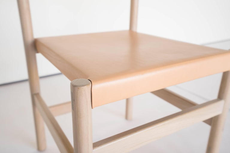 Joinery Juniper Chair by Sun at Six, Nude Minimalist Chair in Wood and Leather For Sale
