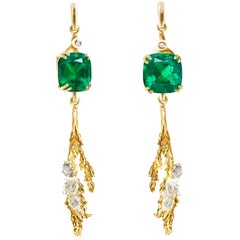 Juniper Earrings by Artist, GRS Certified 7.92 Cts Colombian Muzo Green Emeralds