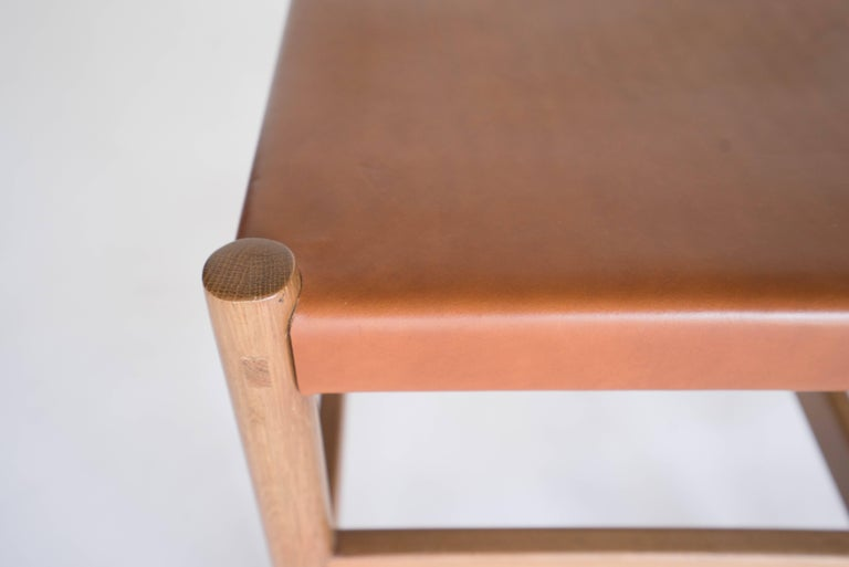 Joinery Juniper Stool by Sun at Six, Sienna Minimalist Stool in Wood and Leather For Sale