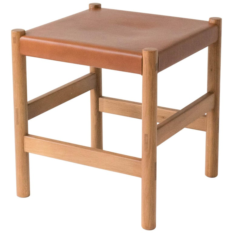 Juniper Stool by Sun at Six, Sienna Minimalist Stool in Wood and Leather For Sale