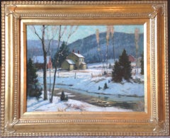 Junius Allen Salmagundi Club Artist oil painting Winter Afternoon