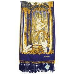 Junko Shimada Renaissance Baroque Print Fringed Silk Scarf Stole Shawl