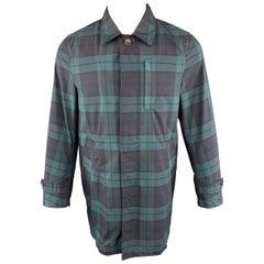 JUNMEN Size M Plaid Green & Navy Cotton Blend Hidden Buttons Coat