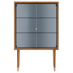 Juno Book Shelves in Walnut Structure with Glass Door by E-GGS
