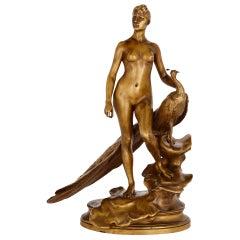 """Juno with a Peacock,"" Bronze Figure by Alexandre Falguière"