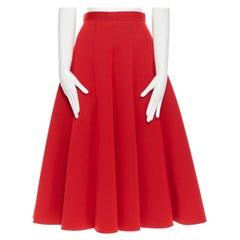 JUNYA WATANABE 2016 red scuba nylon  pleated A-line flared midi skirt S