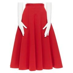 JUNYA WATANABE 2016 red scuba nylon structured pleated flared midi skirt S
