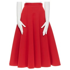 JUNYA WATANABE 2016 red scuba wool structured paneled flared knee skirt S