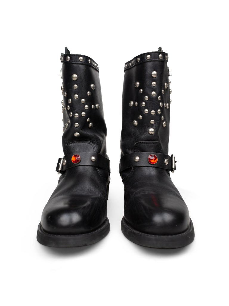 Black Junya Watanabe AW2002 Studded Engineer Boots For Sale