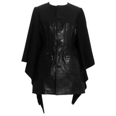 Junya Watanabe black leather and wool corseted jacket cape, fw 2011