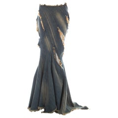 Junya Watanabe blue denim fishtail bias cut skirt with frayed cut outs, ca. 2002