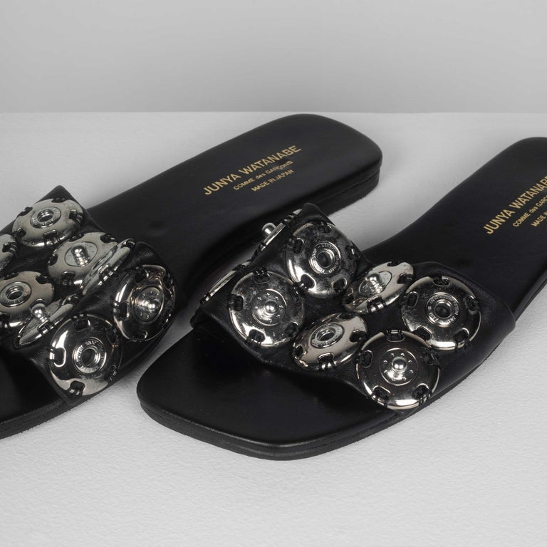 Women's or Men's Junya Watanabe CDG Leather Snap Button Sandals For Sale