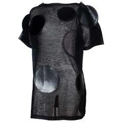 Junya Watanabe CDG Sheer Black Linen Dress with Circles, 2014