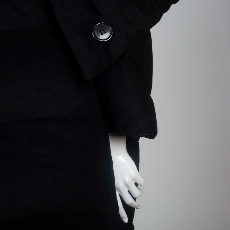 Junya Watanabe CDG Wool Cashmere Black Down Coat, 2004 In Good Condition For Sale In Chicago, IL