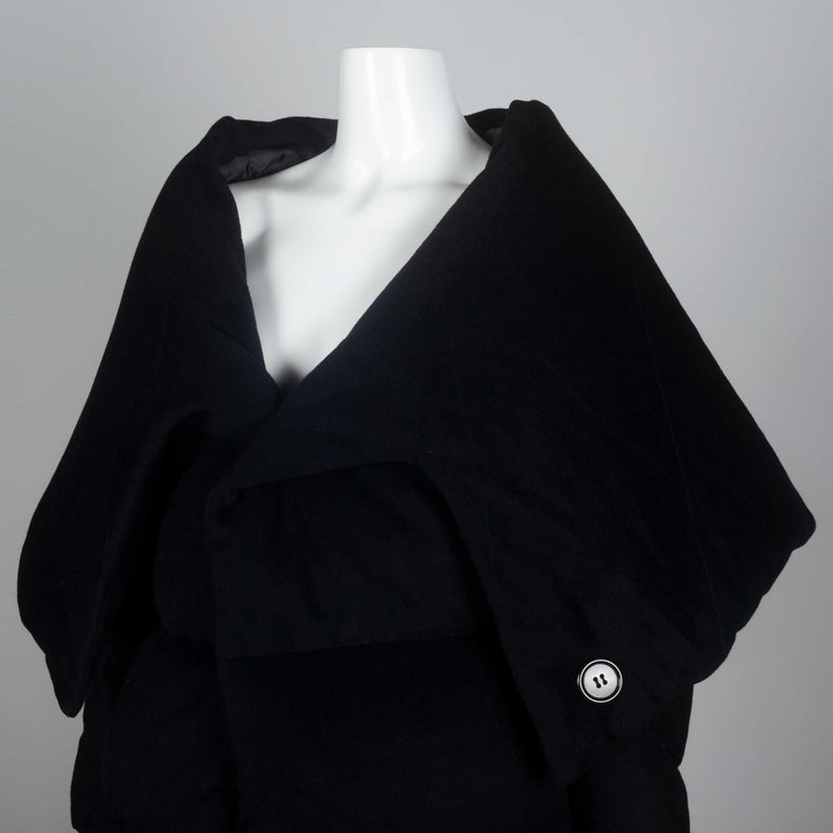 Junya Watanabe CDG Wool Cashmere Black Down Coat, 2004 For Sale 2