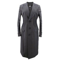 Junya Watanabe charcoal wool and faux leather coat