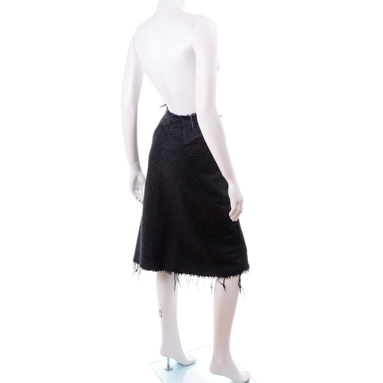Junya Watanabe Comme des Garcons Fall Winter 2003 Distressed Gray Wool Skirt For Sale 7