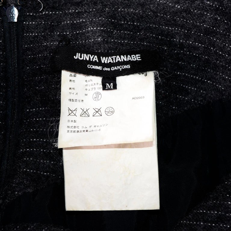 Junya Watanabe Comme des Garcons Fall Winter 2003 Distressed Gray Wool Skirt For Sale 9