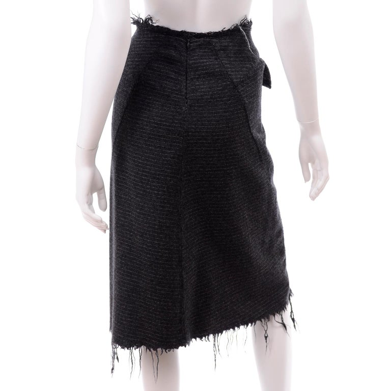 Junya Watanabe Comme des Garcons Fall Winter 2003 Distressed Gray Wool Skirt For Sale 3