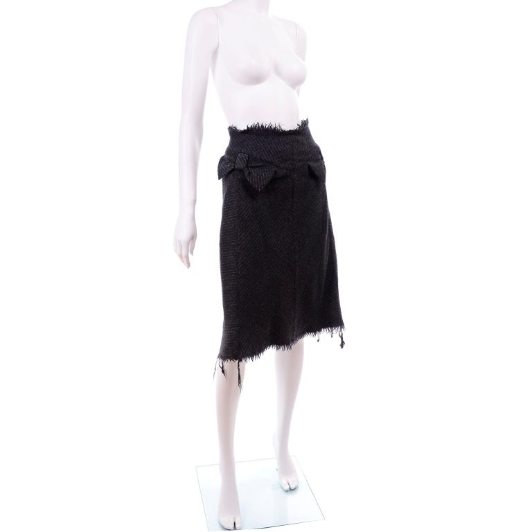 Junya Watanabe Comme des Garcons Fall Winter 2003 Distressed Gray Wool Skirt For Sale 5